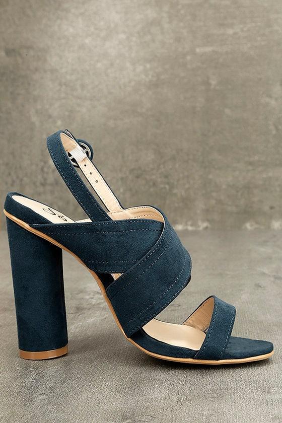 Abiona Navy Suede High Heel Sandals 4