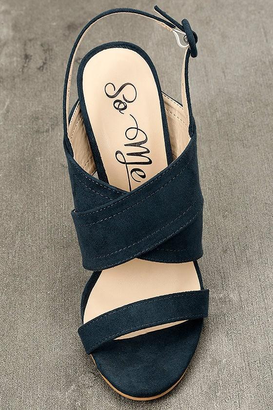 Abiona Navy Suede High Heel Sandals 5