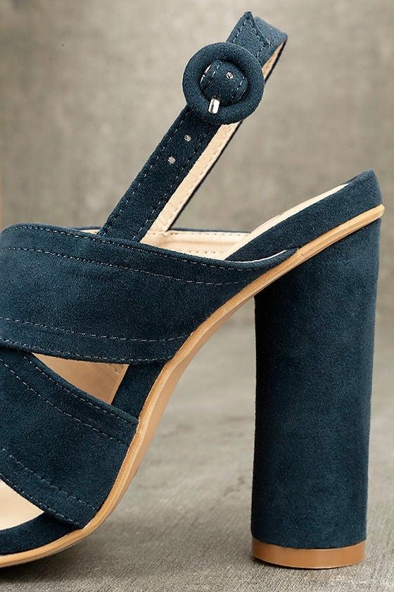 Abiona Navy Suede High Heel Sandals 7