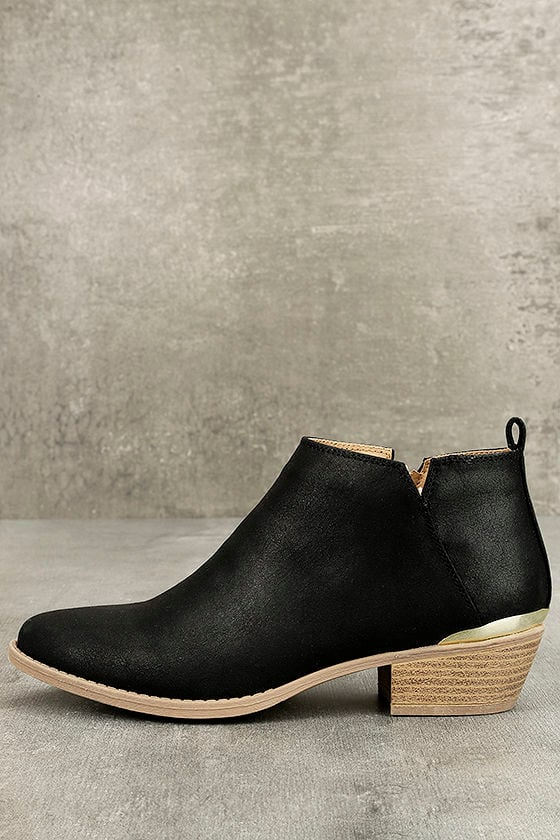 Marzia Black Distressed Ankle Booties 1
