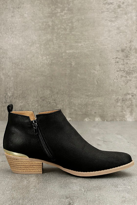 Marzia Black Distressed Ankle Booties 4