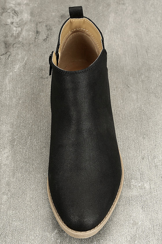 Marzia Black Distressed Ankle Booties 5