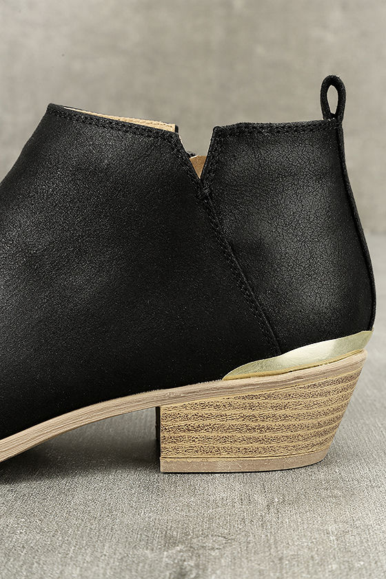 Marzia Black Distressed Ankle Booties 7