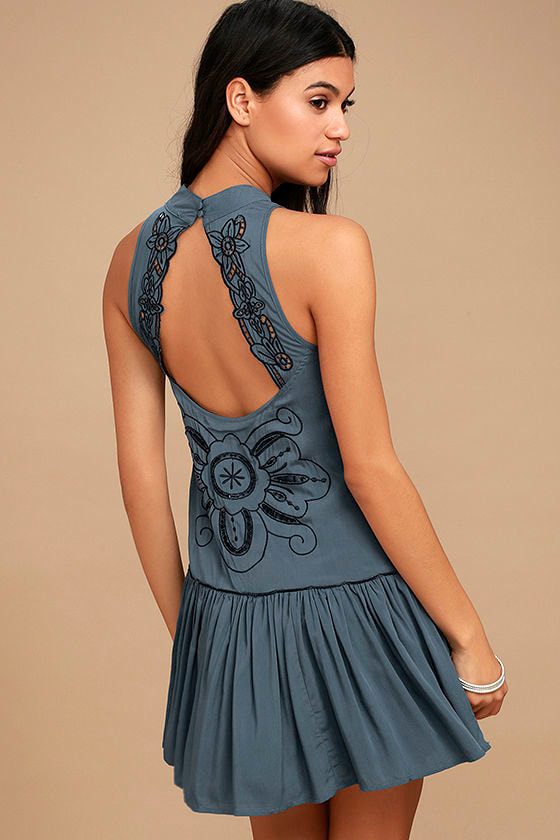 Adalia Teal Blue Embroidered Backless Dress 1