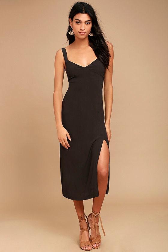 Kaliska Charcoal Grey Midi Dress 1