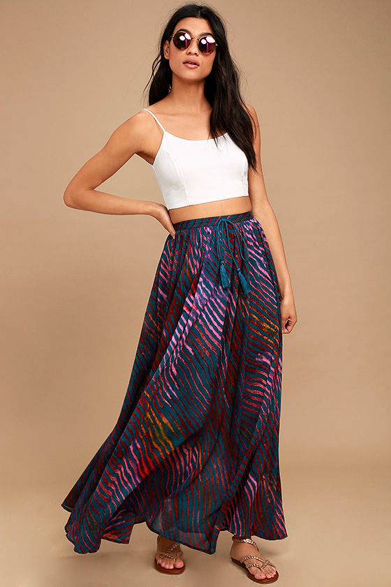 Free People True to You - Navy Blue Print Skirt - Maxi Skirt - $128.00