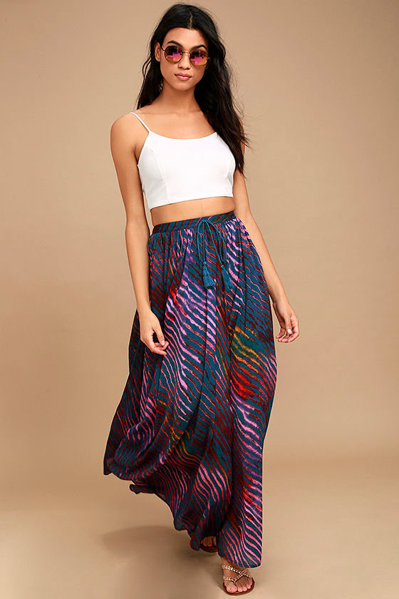 Free People True to You Navy Blue Print Maxi Skirt 2