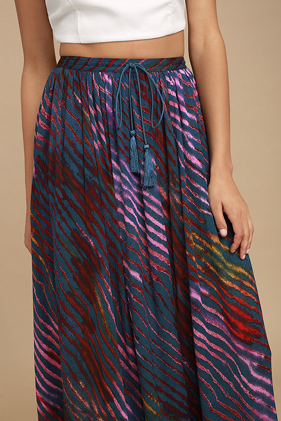 Free People True to You Navy Blue Print Maxi Skirt 5