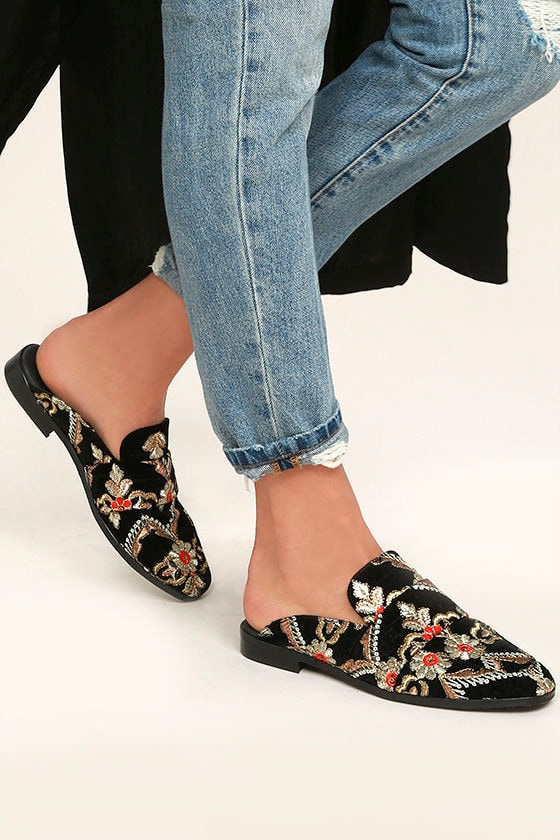 Free People Brocade At Ease Black Embroidered Loafer Slides 2