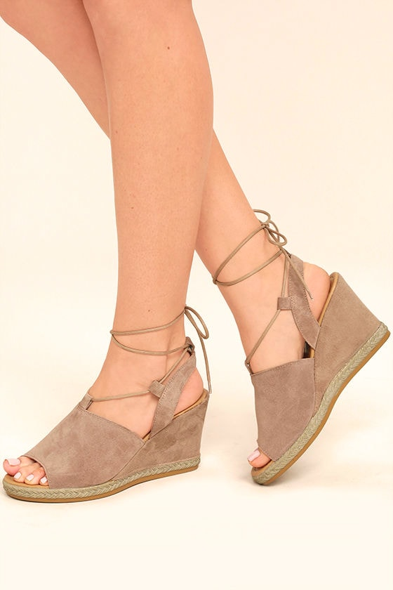 Seychelles What Not Taupe Suede Leather Lace-Up Wedges 1