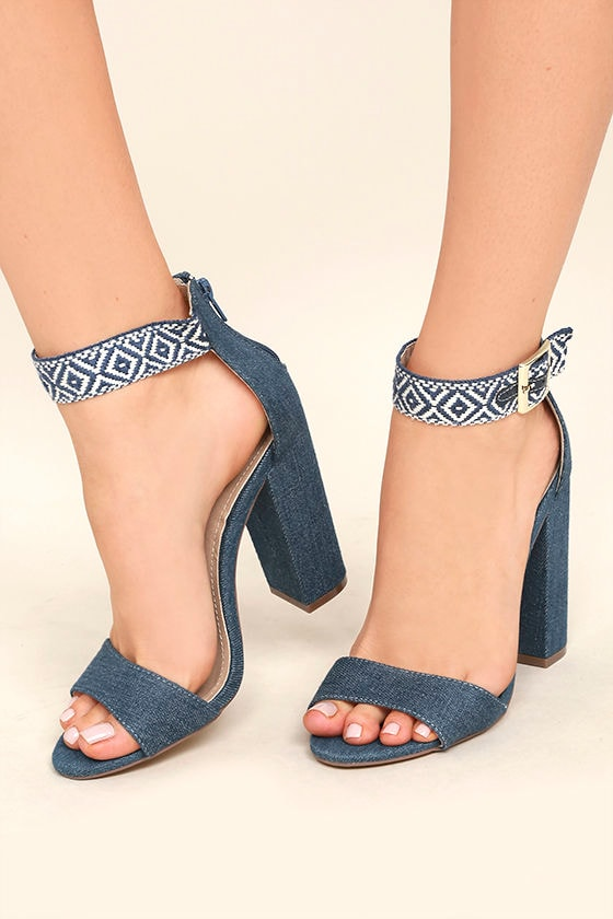 60cf4344bb3 Chic Denim and White Heels - Blue Single Sole Heels - Embroidered Ankle  Strap Heels -  36.00