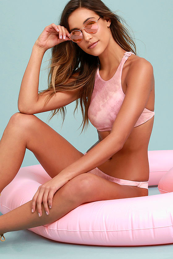 Billabong Today's Vibe Mauve Pink Tie-Dye Bikini Top 2