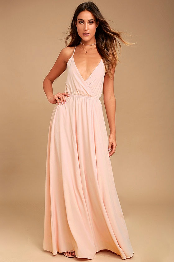 Lovely Blush Pink Maxi Dress - Backless Maxi Dress - Lace-Up Maxi ...