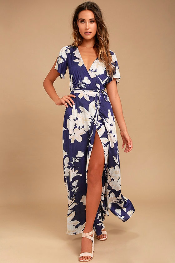 Lovely navy blue floral print dress wrap dress maxi for Dresses for 60 year old wedding guest