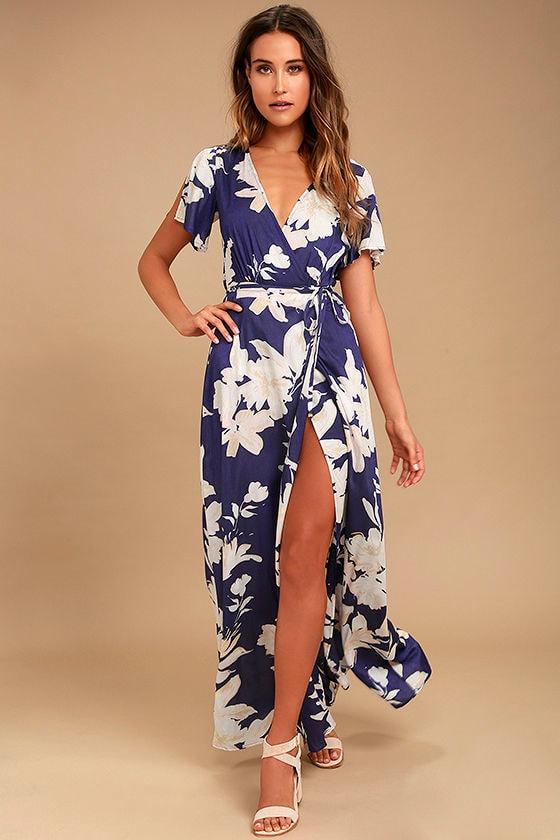 Azalea Regalia Navy Blue Floral Print Wrap Maxi Dress 1