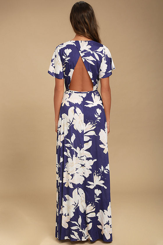 Azalea Regalia Navy Blue Floral Print Wrap Maxi Dress 4