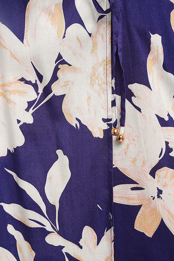 Azalea Regalia Navy Blue Floral Print Wrap Maxi Dress 6