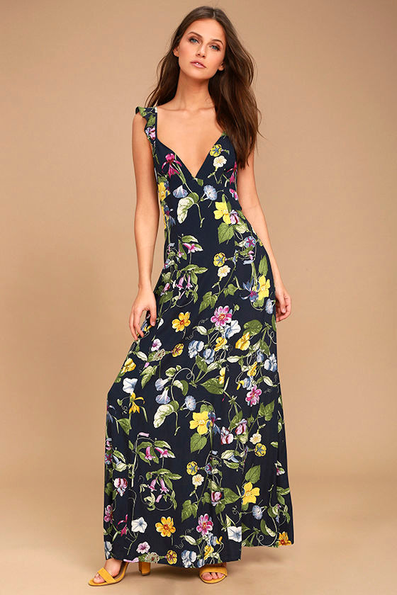 Simple Pleasure Navy Blue Floral Print Maxi Dress 1