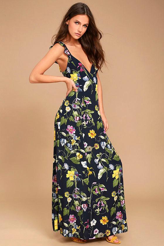 Simple Pleasure Navy Blue Floral Print Maxi Dress 2