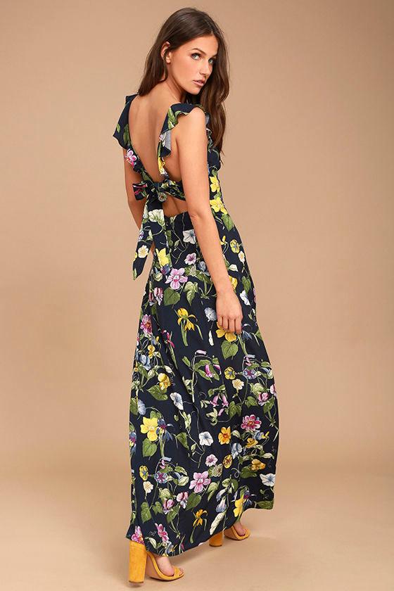 Simple Pleasure Navy Blue Floral Print Maxi Dress 3
