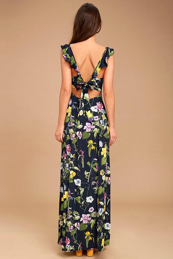 Simple Pleasure Navy Blue Floral Print Maxi Dress 4