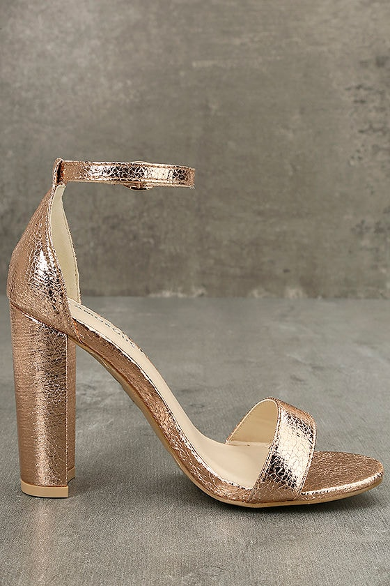 Glamorous Ceara Rose Gold Ankle Strap Heels 4