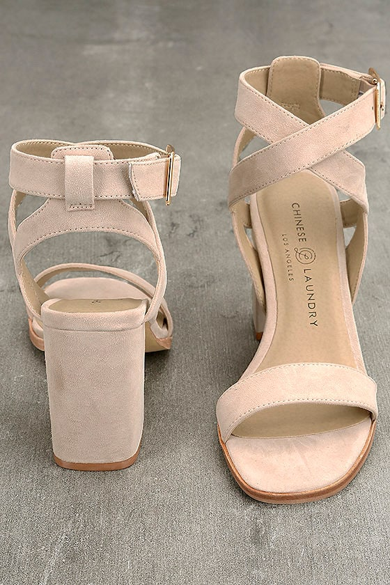 Chinese Laundry Sitara Rose Suede Leather High Heel Sandals 3