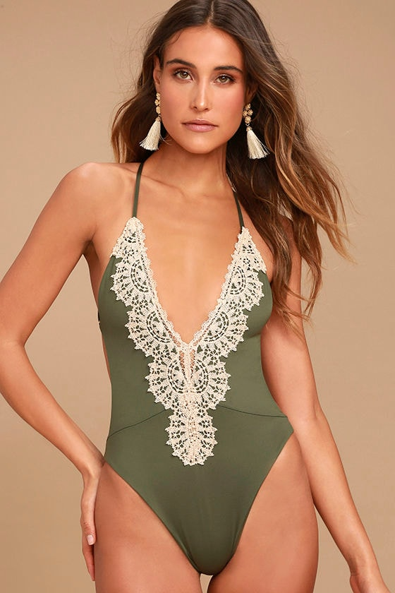 3a66053a3da Blue Life Eclipse Swimsuit - Olive Green Swimsuit - One Piece Swimsuit
