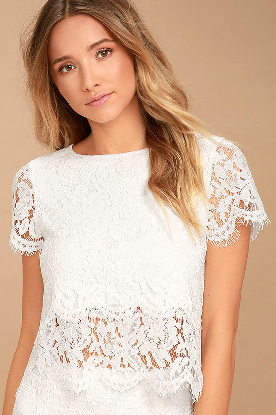 3309fbd6a05710 Cute White Top - Lace Crop Top - Lace Top - Scalloped Top -  36.00