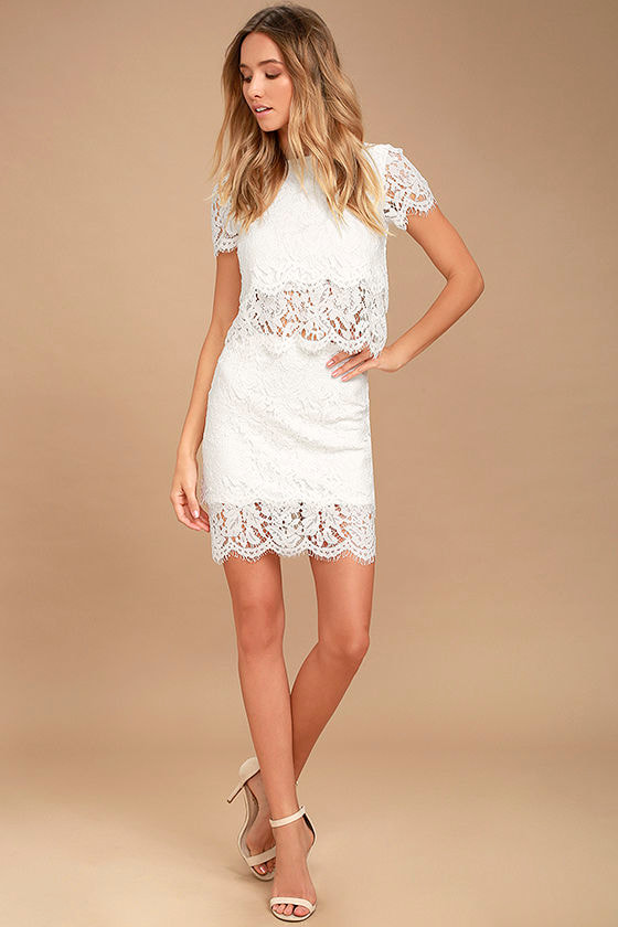 c390bb9da545 Cute White Top - Lace Crop Top - Lace Top - Scalloped Top -  36.00