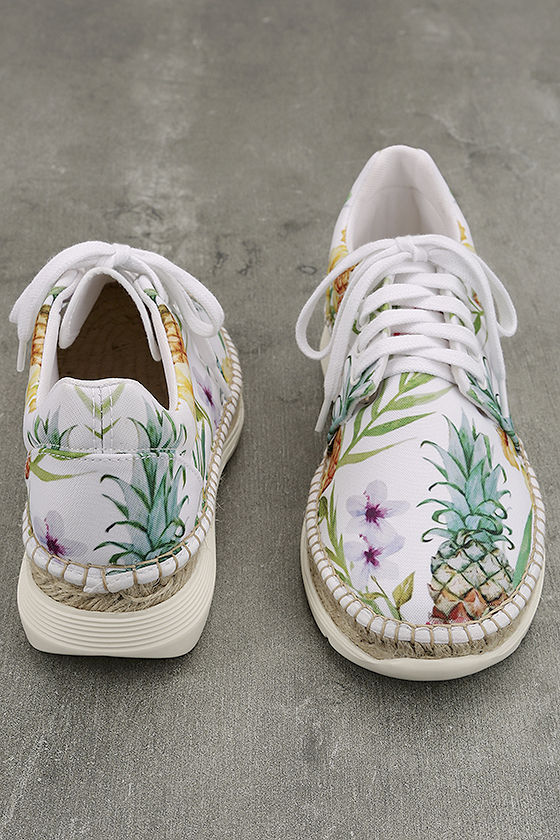 Free People Jackson White Tropical Print Espadrille Sneakers 3