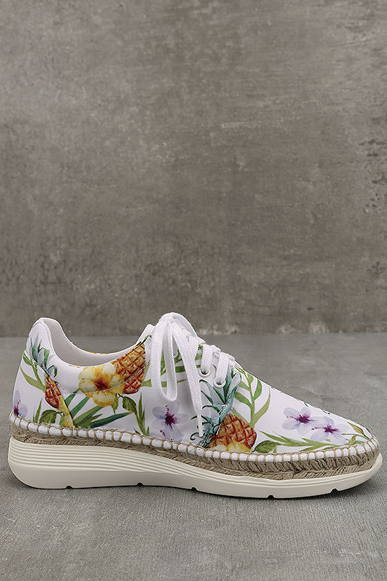 Free People Jackson White Tropical Print Espadrille Sneakers 4