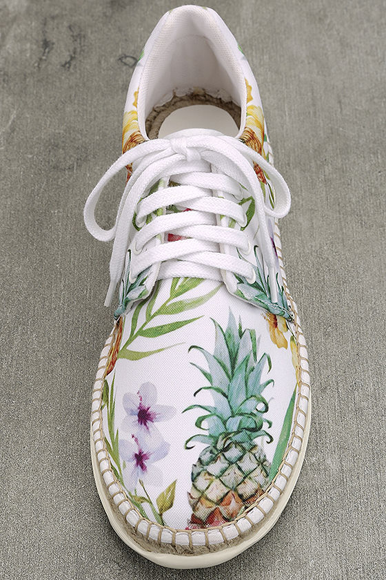 Free People Jackson White Tropical Print Espadrille Sneakers 5