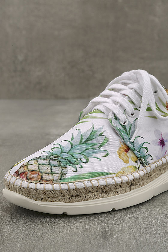 Free People Jackson White Tropical Print Espadrille Sneakers 6