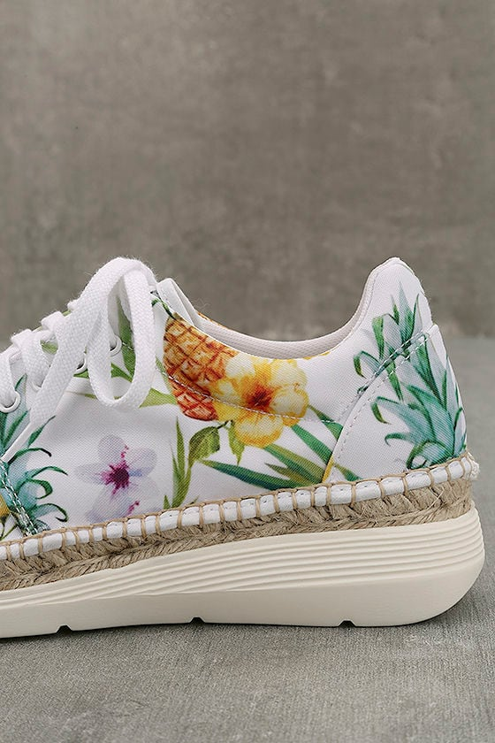 Free People Jackson White Tropical Print Espadrille Sneakers 7