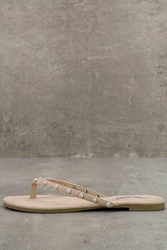 2aaf9ca5b0c8 Cute Nude Suede Flip Flops - Pearl Flip Flops - Vegan Suede Sandals ...