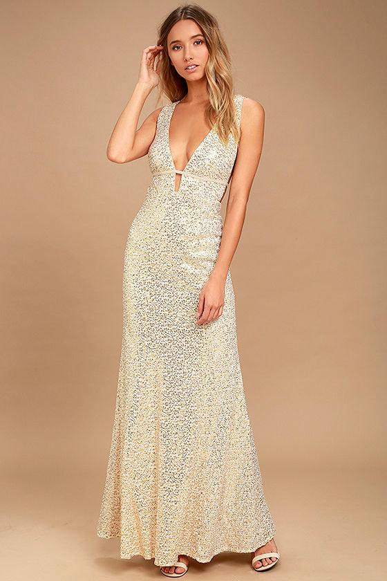 Wish Granted Beige Sequin Maxi Dress 1