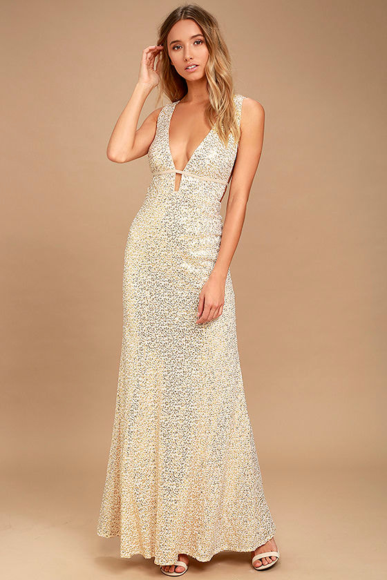 Stunning Sequin Dress - Beige Sequin Dress - Sequin Maxi Dress