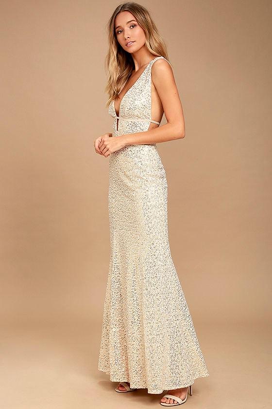 Wish Granted Beige Sequin Maxi Dress 3
