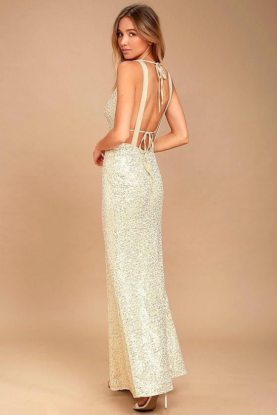 Wish Granted Beige Sequin Maxi Dress 4