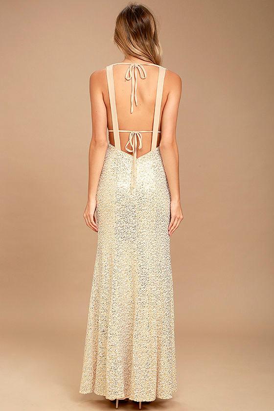 Wish Granted Beige Sequin Maxi Dress 5
