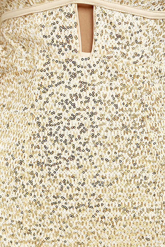 Wish Granted Beige Sequin Maxi Dress 7