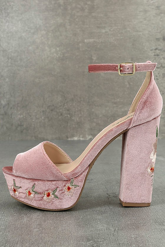 f3a2a320728 Abella Blush Velvet Embroidered Platform Heels