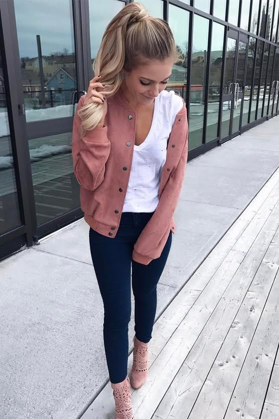 Home Run Blush Pink Suede Varsity Jacket 7