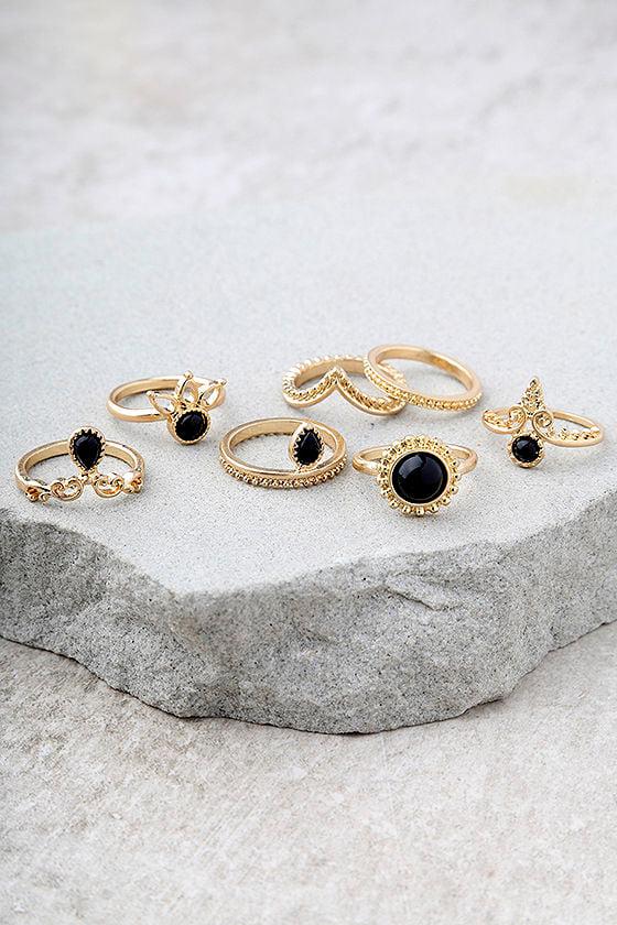 Sacred Lotus Black and Gold Ring Set 2