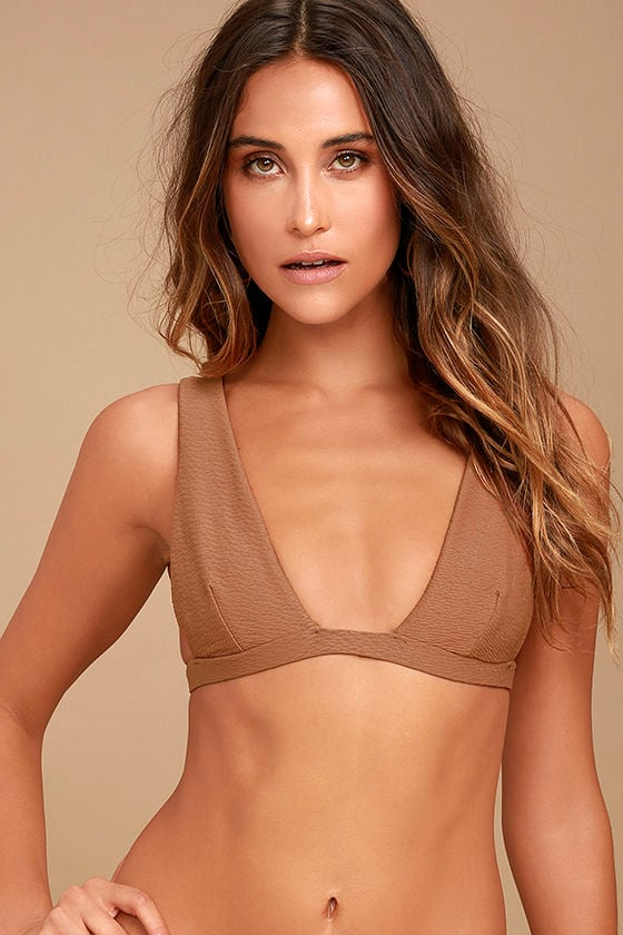 Blue Life Roped Up Brown Bikini Top 1