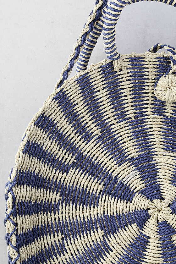 High Moon Navy Blue and Beige Woven Tote 2