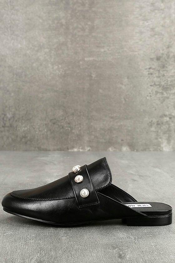aa7161220cf Steve Madden Kandi-P - Black Loafer Slides - Leather Slides -  79.00
