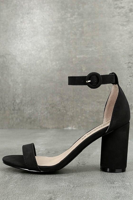 Elettra Black Nubuck Ankle Strap Heels 1