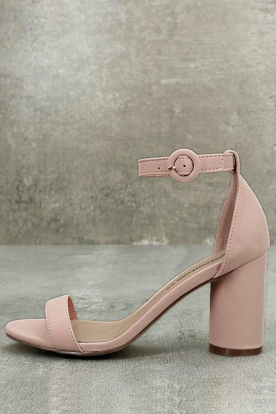 Elettra Blush Nubuck Ankle Strap Heels 1